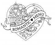 coeur repas menu romantique par Yvecourt dessin à colorier