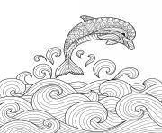dauphin fait un saut ocean animal marin anti-stress animaux dessin à colorier