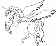 licorne avec des ailes dessin à colorier