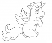 Coloriage chibi licorne with heart