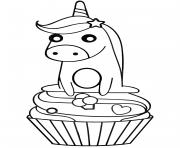 licorne sur un cupcake dessin à colorier