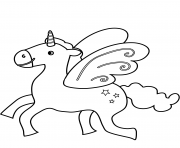 Coloriage flying licorne