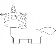 cartoon licorne horn dessin à colorier