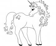 Coloriage licorne magique beaute princesse dessin