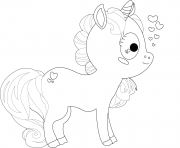 cartoon licorne cute kids dessin à colorier