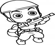 mini soldat militaire avec arme dessin à colorier