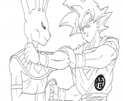 Coloriage beerus vs goku super saiyan gold dbz