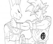beerus vs goku super saiyan gold dbz dessin à colorier