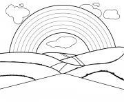 Coloriage arc en ciel avec des oursons dessin