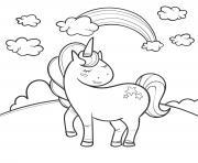 arc en ciel avec licorne et nuages dessin à colorier