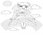 fille assise sur un arc en ciel dessin à colorier