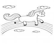 licorne marche sur un arc en ciel avec tranquilite dessin à colorier