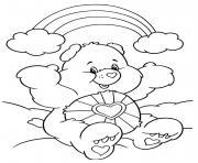 nounours heureux devant un arc en ciel dessin à colorier