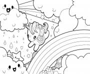 arc en ciel avec licorne kawaii dessin à colorier