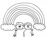 arc en ciel avec nuage et deux amis dessin à colorier