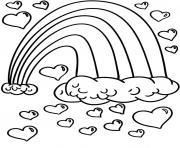 arc en ciel avec nuages et coeurs dessin à colorier