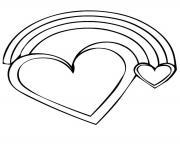 arc en ciel avec un coeur dessin à colorier