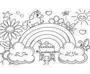 ca va bien aller arc en ciel licorne nuages fleurs soleil dessin à colorier