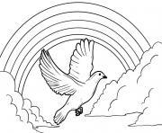 une colombe vol pres de arc en ciel dessin à colorier