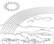 village en montagne avec un arc en ciel et un soleil dessin à colorier