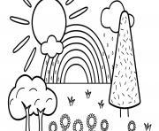 arc en ciel dans un beau paysage avec soleil et fleurs dessin à colorier