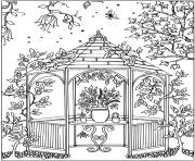paysage pot de fleurs dessin à colorier