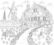 adulte paysage rural ferme moulin a vent puits d eau boite aux lettres lapins et oiseau pic cro dessin à colorier