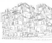 Coloriage deux villes complexes et differentes dessin