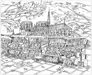 ville de paris notre dame de paris librairie ambulante dessin à colorier