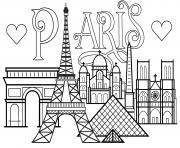 ville de paris monuments Tour Eiffel Arc de triomphe Cathedrale Notre Dame de Paris dessin à colorier