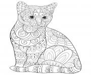 Coloriage chat avec motifs zentangle