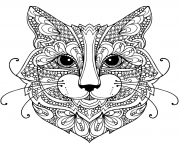 chat mandala zentangle difficile dessin à colorier