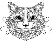 chat mandala zentangle difficile dessin à colorier