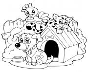 chat et chien avec une poule super mignon dessin à colorier