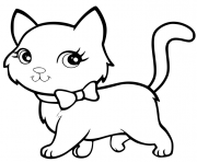 chat kawaii super mignon marche de maniere elegante dessin à colorier