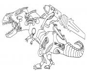 robot dinosaure avec un missile dessin à colorier