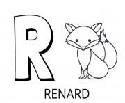 lettre r comme renard dessin à colorier