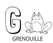 Coloriage lettre g comme grenouille dessin