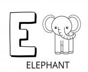 lettre e comme elephant dessin à colorier