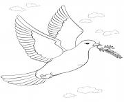oiseau de la paix avec branche olive dessin à colorier