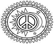 soleil lune avec symbole de la paix peace dessin à colorier