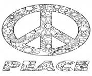 sumbole de paix peace en anglais motif fleurs dessin à colorier