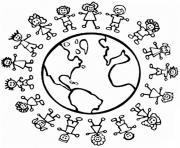 tous egaux paix au tour du monde enfants dessin à colorier