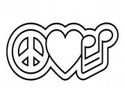 Peace Amour Musique dessin à colorier