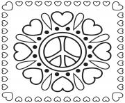 mandala paix peace amour et coeurs dessin à colorier