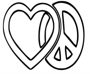 coloriage logo paix et amour peace and love