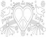 paix et amour symboles dessin à colorier