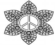 logo paix forme de fleurs dessin à colorier