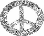paix et amour logo peace dessin à colorier