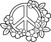 signe de paix fleurs dessin à colorier